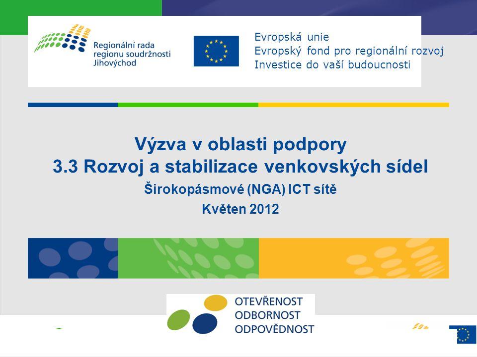 Výzva v oblasti podpory 3.3 Rozvoj a stabilizace venkovských sídel Širokopásmové (NGA) ICT sítě Květen 2012 Evropská unie Evropský fond pro regionální