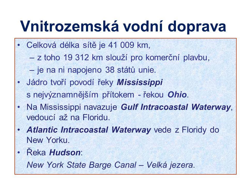 Vnitrozemská vodní doprava Celková délka sítě je 41 009 km, –z toho 19 312 km slouží pro komerční plavbu, –je na ni napojeno 38 států unie. Jádro tvoř
