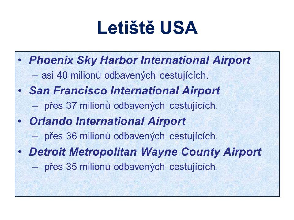 Letiště USA Phoenix Sky Harbor International Airport –asi 40 milionů odbavených cestujících. San Francisco International Airport – přes 37 milionů odb