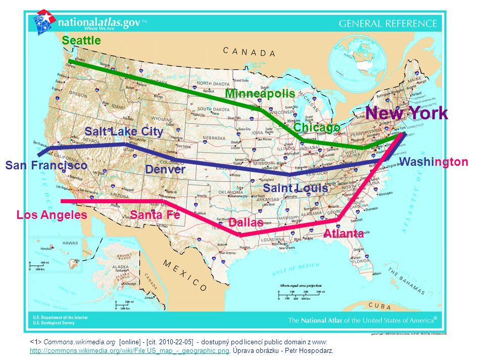 """Oblasti největšího provozu Atlantské megapole """"Boswash Boston, New York, Philadelphia, Washington Megapole Chipitts (jižní břehy Velkých jezer) Chicago, Detroit, Cleveland, Pittsburgh a Buffalo Tichomořská megapole od San Diega po San Francisco Sun Belt (Sluneční pás) jih USA"""