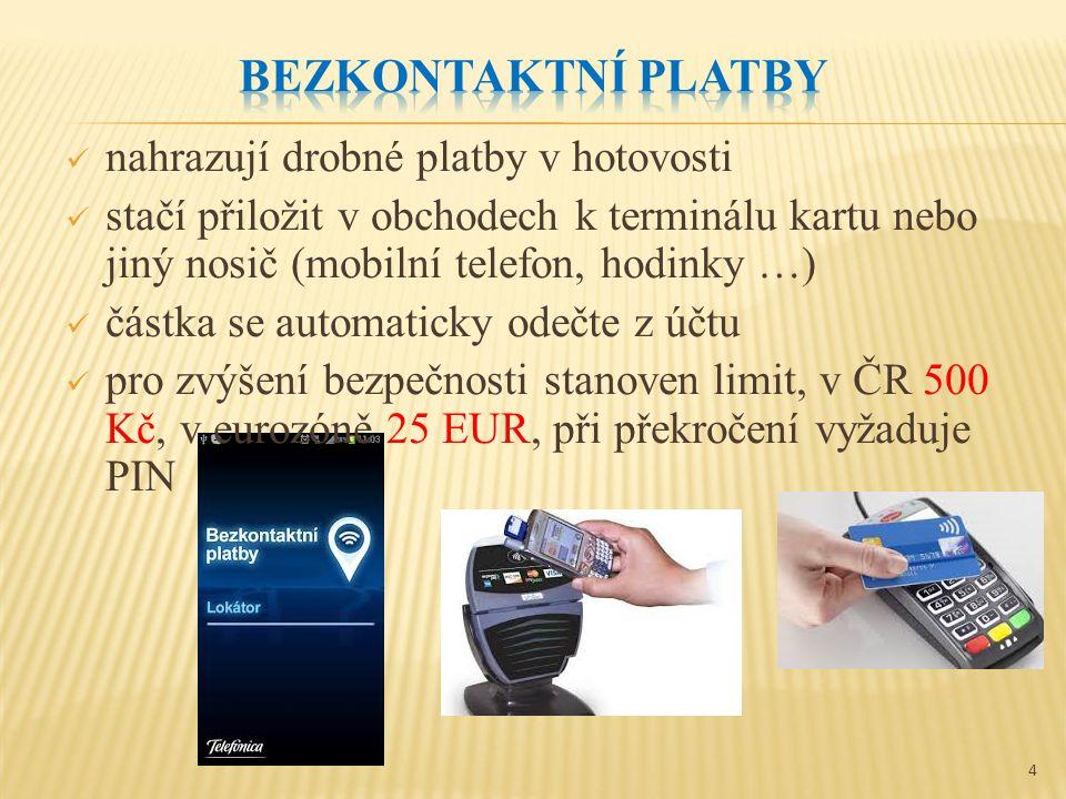 nahrazují drobné platby v hotovosti stačí přiložit v obchodech k terminálu kartu nebo jiný nosič (mobilní telefon, hodinky …) částka se automaticky odečte z účtu pro zvýšení bezpečnosti stanoven limit, v ČR 500 Kč, v eurozóně 25 EUR, při překročení vyžaduje PIN 4