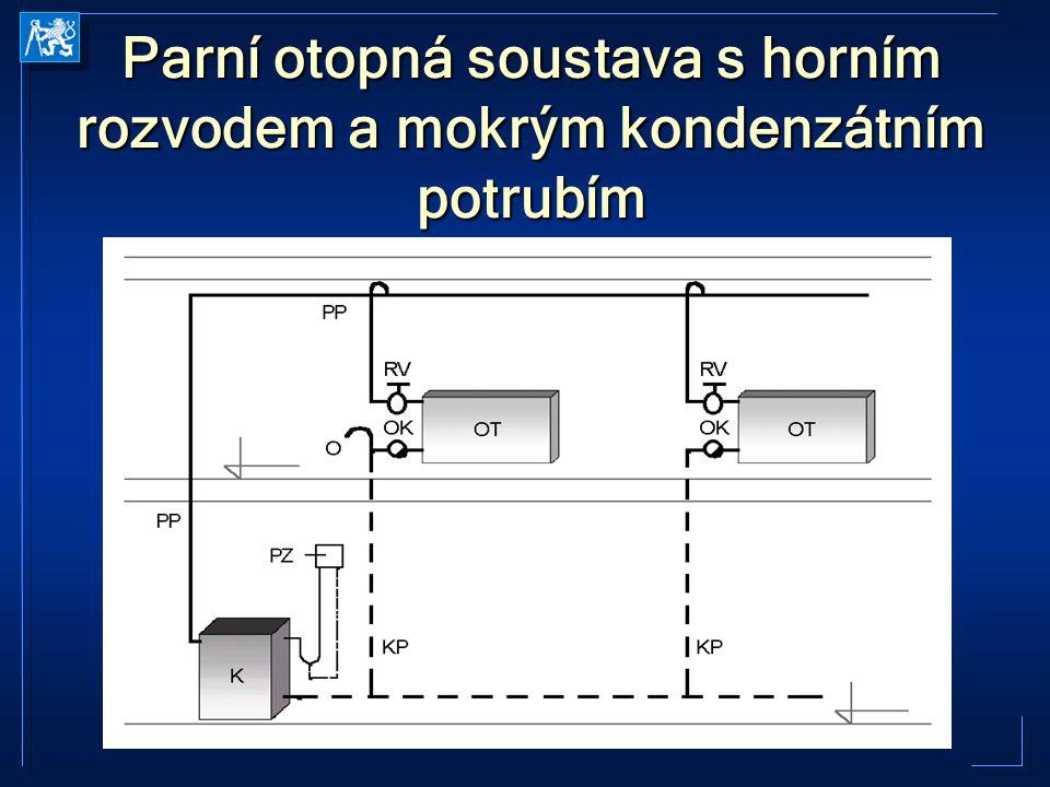 Parní otopná soustava se spodním rozvodem a suchým kondenzátním potrubím