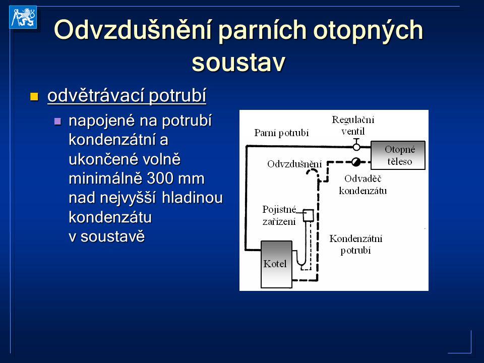Odvzdušnění parních otopných soustav odvětrávací potrubí odvětrávací potrubí napojené na potrubí kondenzátní a ukončené volně minimálně 300 mm nad nej