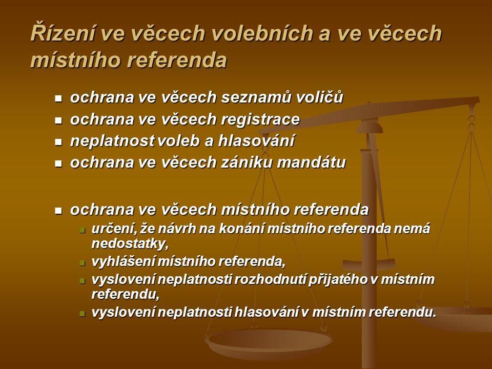 Řízení ve věcech volebních a ve věcech místního referenda ochrana ve věcech seznamů voličů ochrana ve věcech seznamů voličů ochrana ve věcech registra