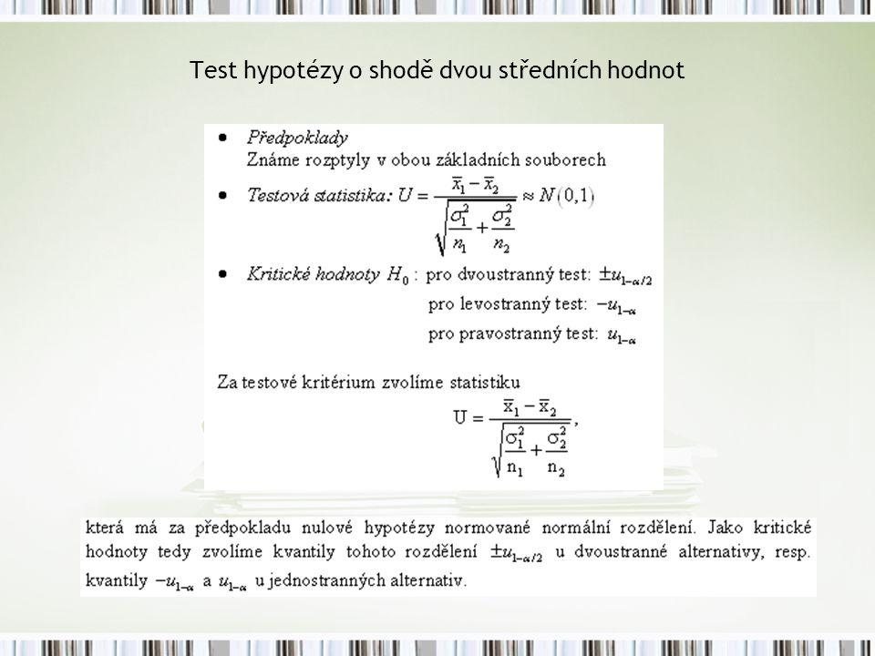 Test hypotézy o shodě dvou středních hodnot