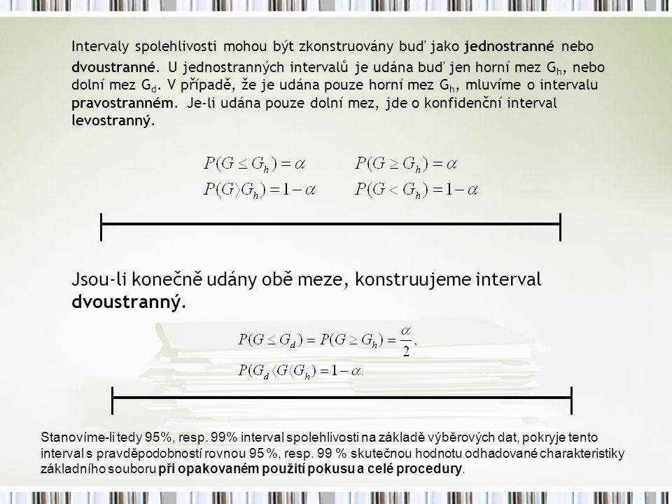 Intervaly spolehlivosti mohou být zkonstruovány buď jako jednostranné nebo dvoustranné. U jednostranných intervalů je udána buď jen horní mez G h, neb