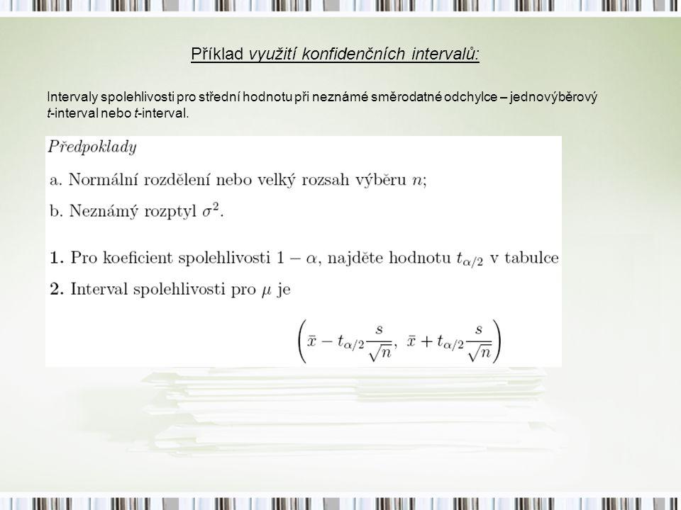Příklad využití konfidenčních intervalů: Intervaly spolehlivosti pro střední hodnotu při neznámé směrodatné odchylce – jednovýběrový t-interval nebo t