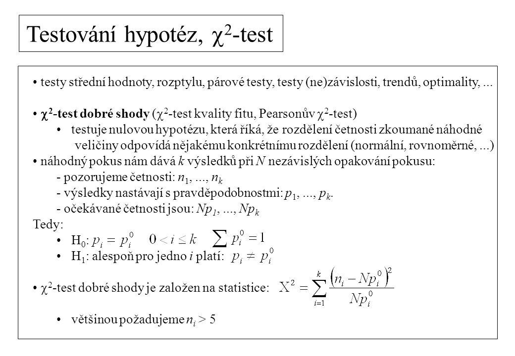 testy střední hodnoty, rozptylu, párové testy, testy (ne)závislosti, trendů, optimality,...  2 -test dobré shody (  2 -test kvality fitu, Pearsonův