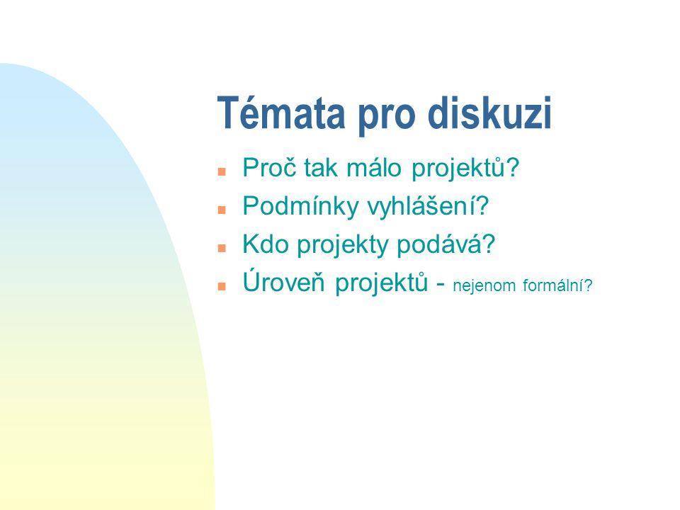 Témata pro diskuzi n Proč tak málo projektů. n Podmínky vyhlášení.
