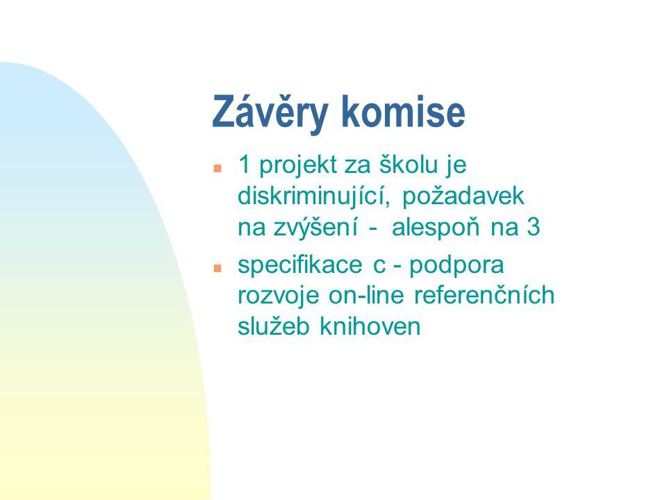 Závěry komise n 1 projekt za školu je diskriminující, požadavek na zvýšení - alespoň na 3 n specifikace c - podpora rozvoje on-line referenčních služeb knihoven