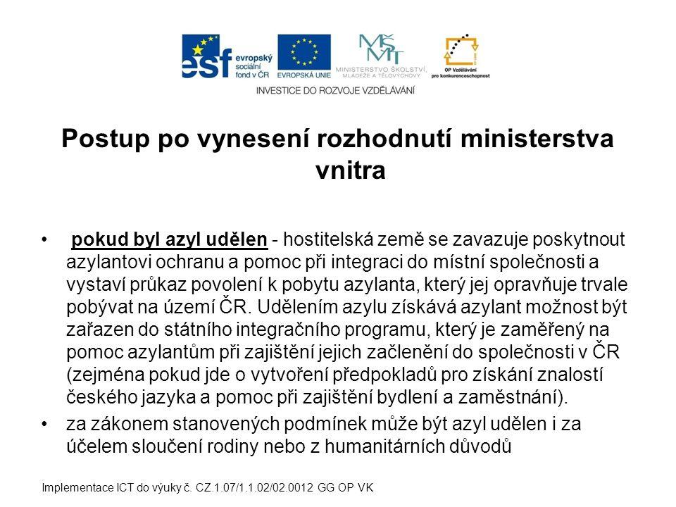 Postup po vynesení rozhodnutí ministerstva vnitra pokud byl azyl udělen - hostitelská země se zavazuje poskytnout azylantovi ochranu a pomoc při integraci do místní společnosti a vystaví průkaz povolení k pobytu azylanta, který jej opravňuje trvale pobývat na území ČR.