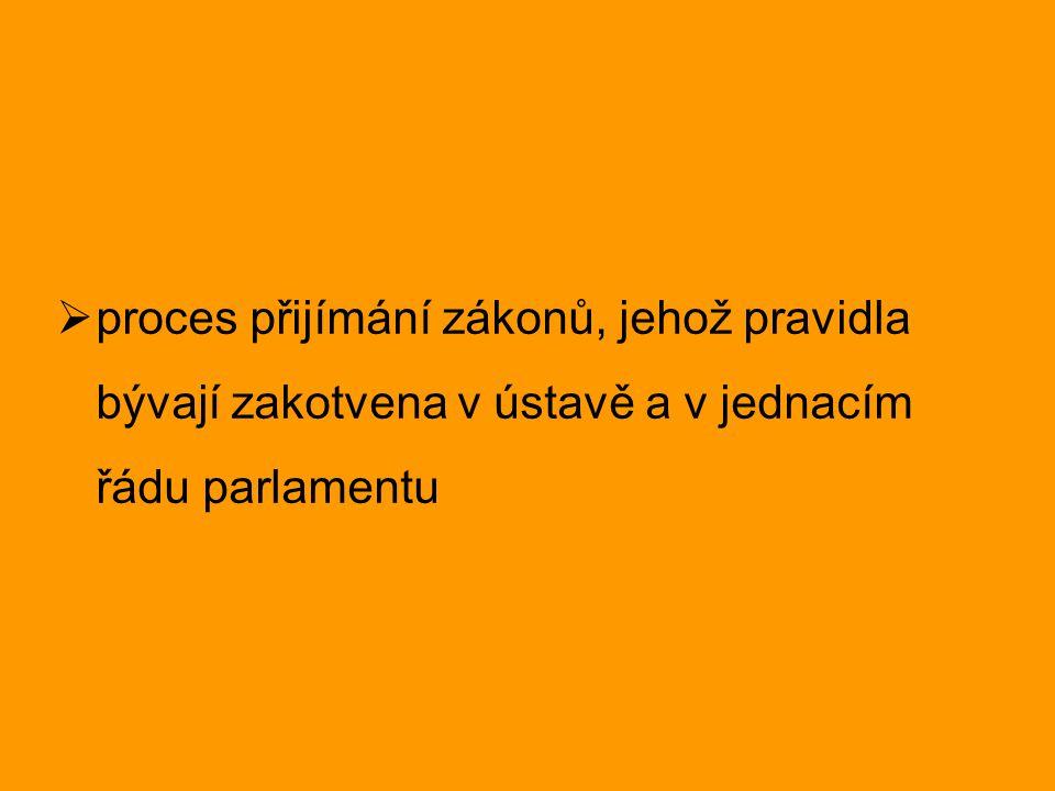  proces přijímání zákonů, jehož pravidla bývají zakotvena v ústavě a v jednacím řádu parlamentu