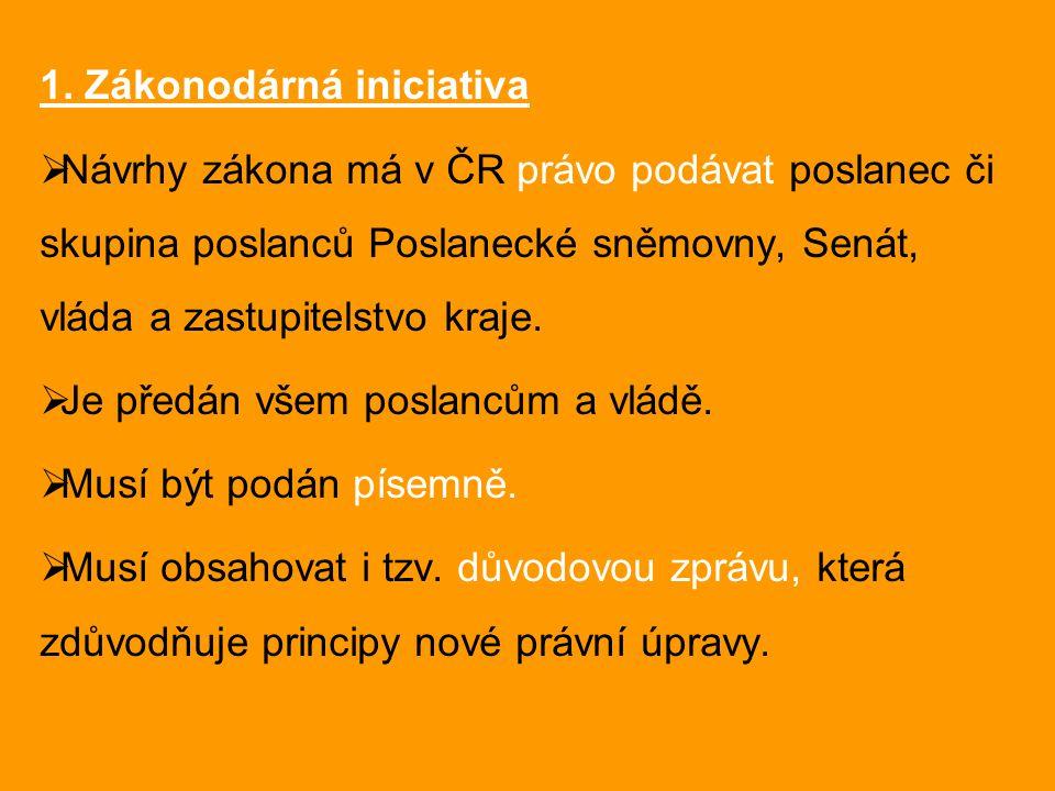 1. Zákonodárná iniciativa  Návrhy zákona má v ČR právo podávat poslanec či skupina poslanců Poslanecké sněmovny, Senát, vláda a zastupitelstvo kraje.