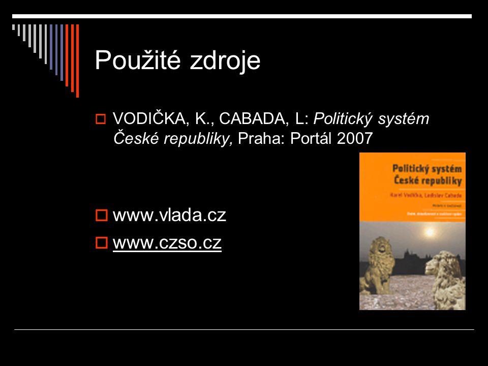 Použité zdroje  VODIČKA, K., CABADA, L: Politický systém České republiky, Praha: Portál 2007  www.vlada.cz  www.czso.cz
