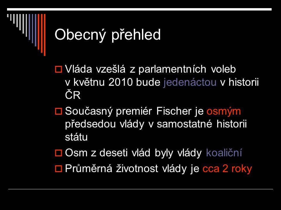 Obecný přehled  Vláda vzešlá z parlamentních voleb v květnu 2010 bude jedenáctou v historii ČR  Současný premiér Fischer je osmým předsedou vlády v samostatné historii státu  Osm z deseti vlád byly vlády koaliční  Průměrná životnost vlády je cca 2 roky