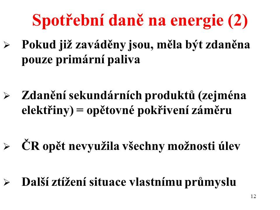 12  Pokud již zaváděny jsou, měla být zdaněna pouze primární paliva  Zdanění sekundárních produktů (zejména elektřiny) = opětovné pokřivení záměru  ČR opět nevyužila všechny možnosti úlev  Další ztížení situace vlastnímu průmyslu Spotřební daně na energie (2)