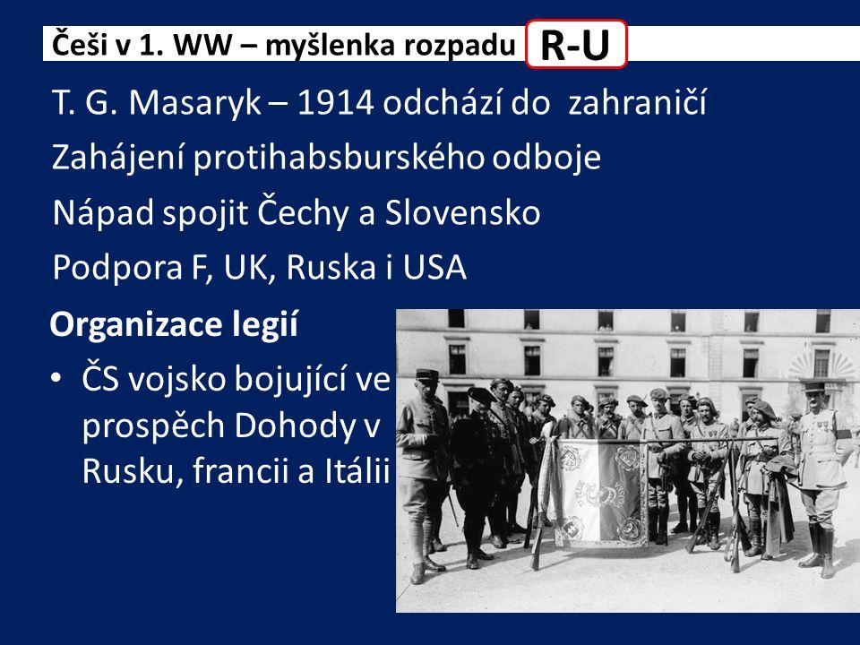 1917 úspěch na Ukrajině u Zborova 1918 Francie uznává Československou národní radu = základ nové ČS vlády Představitelé: Češi v 1.