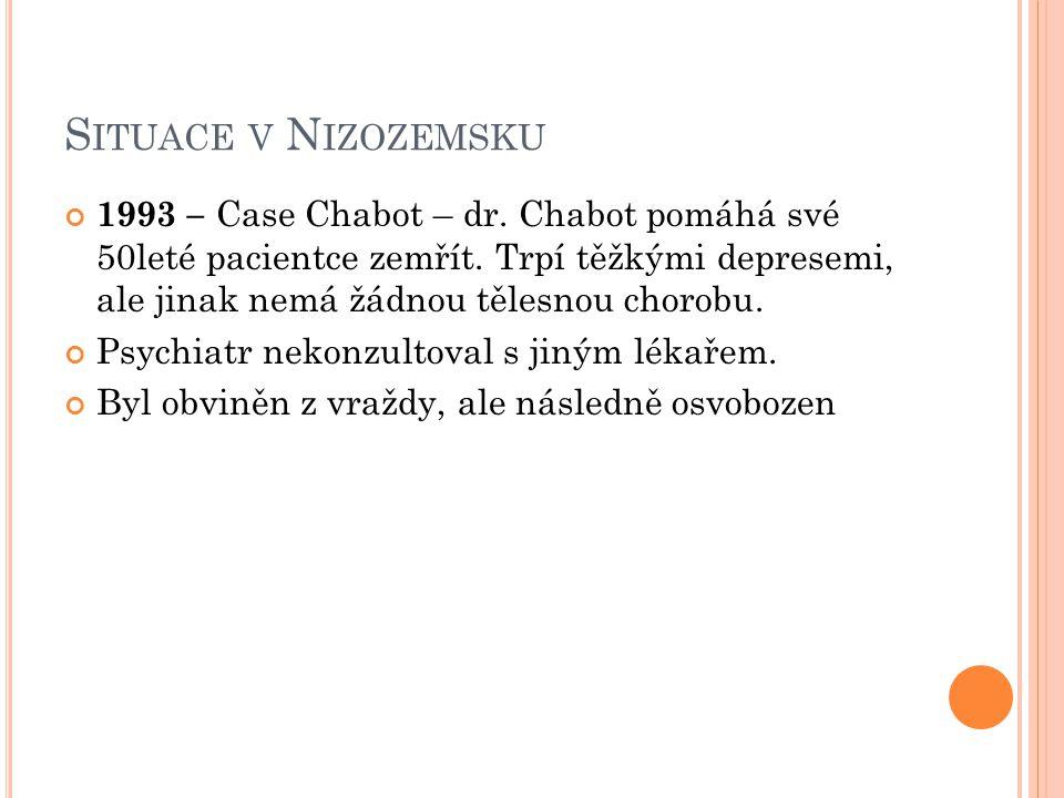 S ITUACE V N IZOZEMSKU 1993 – Case Chabot – dr. Chabot pomáhá své 50leté pacientce zemřít. Trpí těžkými depresemi, ale jinak nemá žádnou tělesnou chor