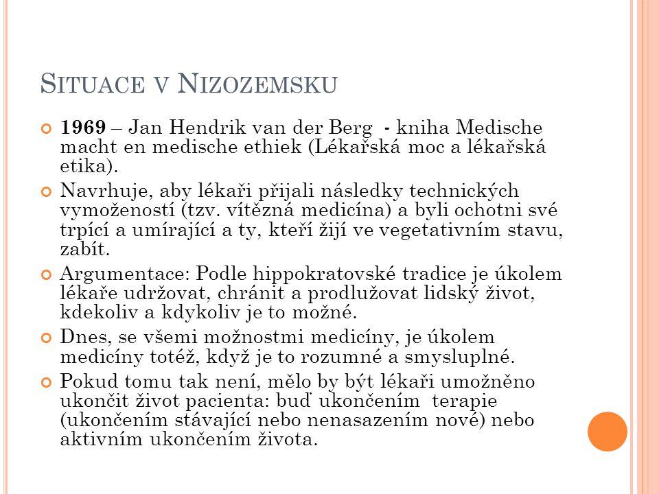 S ITUACE V N IZOZEMSKU 1969 – Jan Hendrik van der Berg - kniha Medische macht en medische ethiek (Lékařská moc a lékařská etika). Navrhuje, aby lékaři