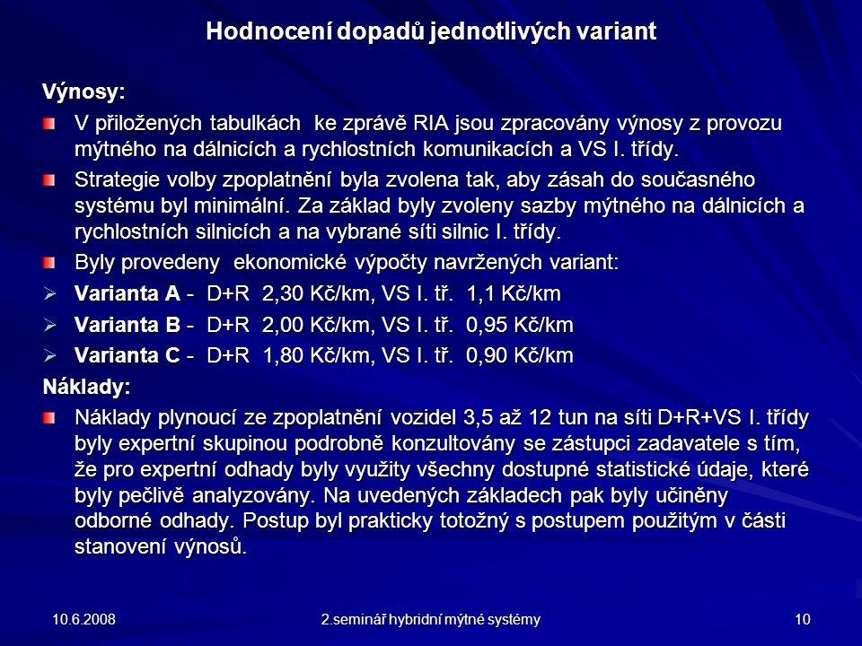Hodnocení dopadů jednotlivých variant Výnosy: V přiložených tabulkách ke zprávě RIA jsou zpracovány výnosy z provozu mýtného na dálnicích a rychlostních komunikacích a VS I.