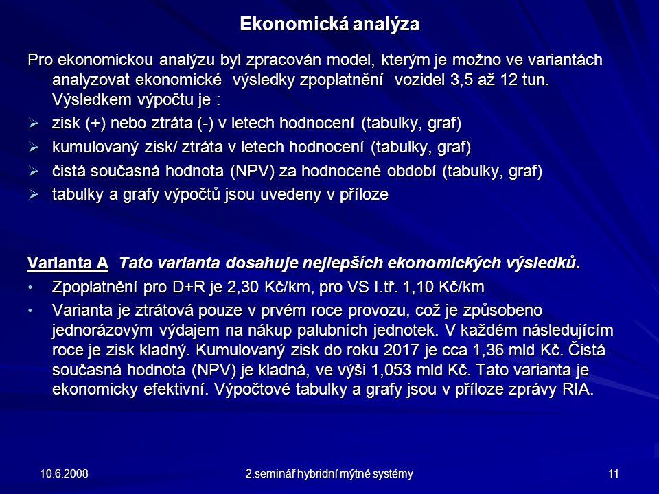 Ekonomická analýza Pro ekonomickou analýzu byl zpracován model, kterým je možno ve variantách analyzovat ekonomické výsledky zpoplatnění vozidel 3,5 až 12 tun.