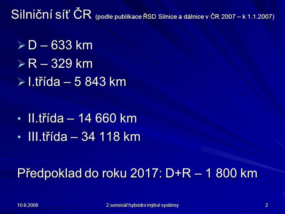 Silniční síť ČR (podle publikace ŘSD Silnice a dálnice v ČR 2007 – k 1.1.2007)  D – 633 km  R – 329 km  I.třída – 5 843 km II.třída – 14 660 km II.třída – 14 660 km III.třída – 34 118 km III.třída – 34 118 km Předpoklad do roku 2017: D+R – 1 800 km 10.6.2008 2.seminář hybridní mýtné systémy 2