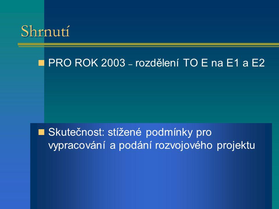 Shrnutí PRO ROK 2003 – rozdělení TO E na E1 a E2 Skutečnost: stížené podmínky pro vypracování a podání rozvojového projektu