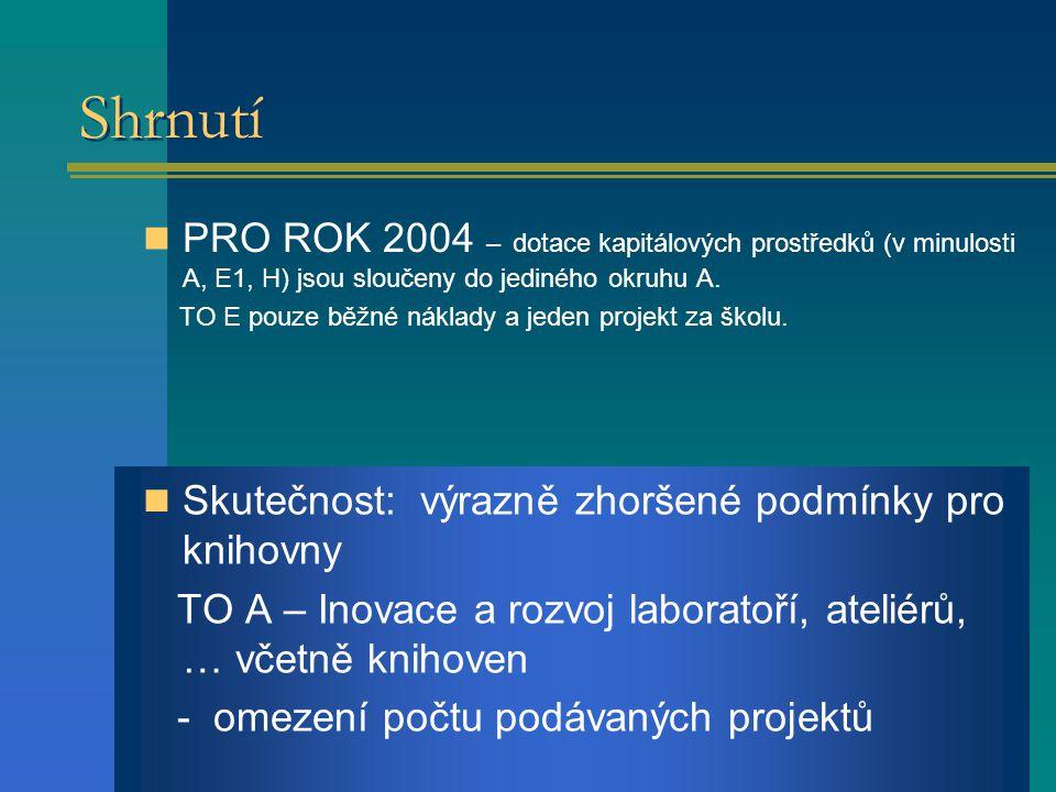 Shrnutí PRO ROK 2004 – dotace kapitálových prostředků (v minulosti A, E1, H) jsou sloučeny do jediného okruhu A.