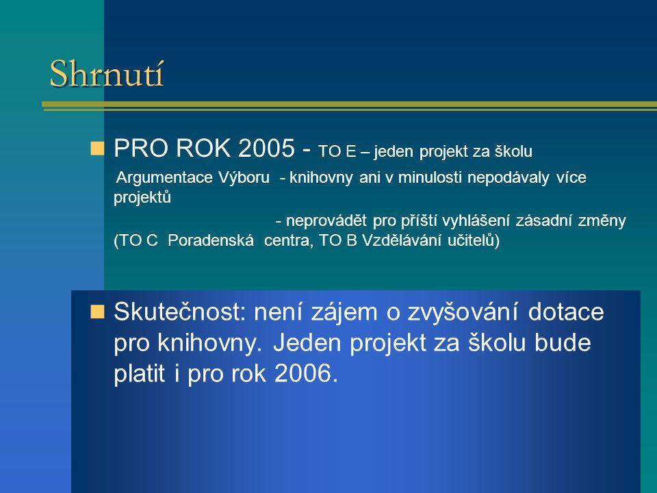 Shrnutí PRO ROK 2005 - TO E – jeden projekt za školu Argumentace Výboru - knihovny ani v minulosti nepodávaly více projektů - neprovádět pro příští vyhlášení zásadní změny (TO C Poradenská centra, TO B Vzdělávání učitelů) Skutečnost: není zájem o zvyšování dotace pro knihovny.