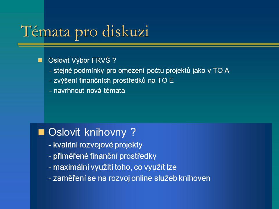 Témata pro diskuzi Oslovit Výbor FRVŠ .