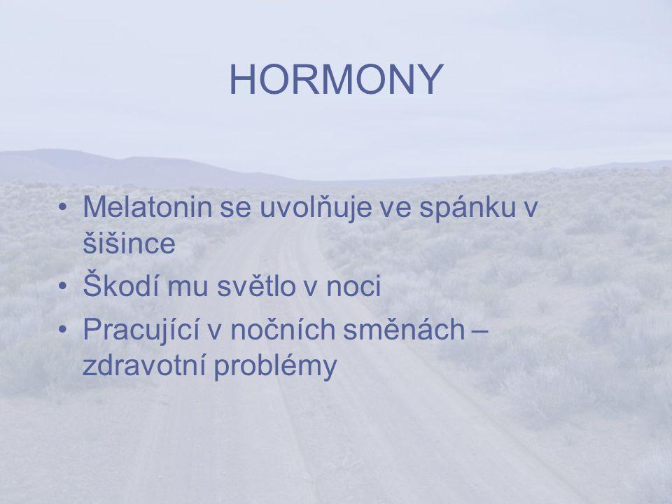 HORMONY Melatonin se uvolňuje ve spánku v šišince Škodí mu světlo v noci Pracující v nočních směnách – zdravotní problémy