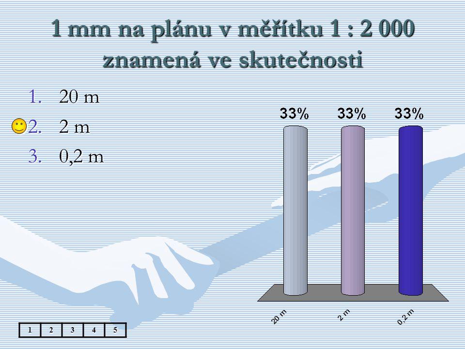 1 mm na plánu v měřítku 1 : 2 000 znamená ve skutečnosti 12345 1.20 m 2.2 m 3.0,2 m