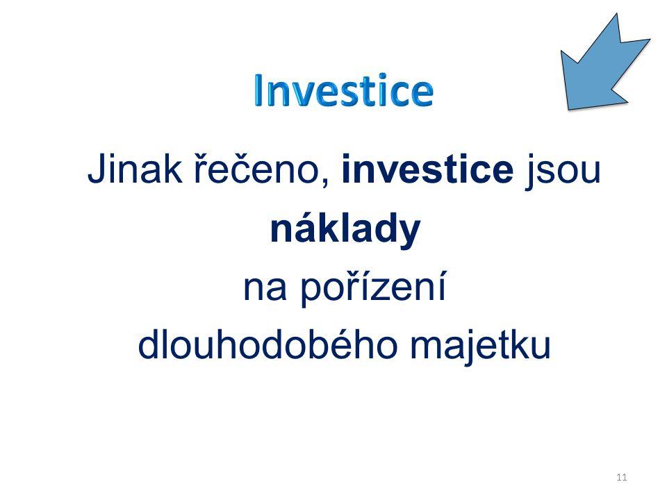 Jinak řečeno, investice jsou náklady na pořízení dlouhodobého majetku 11