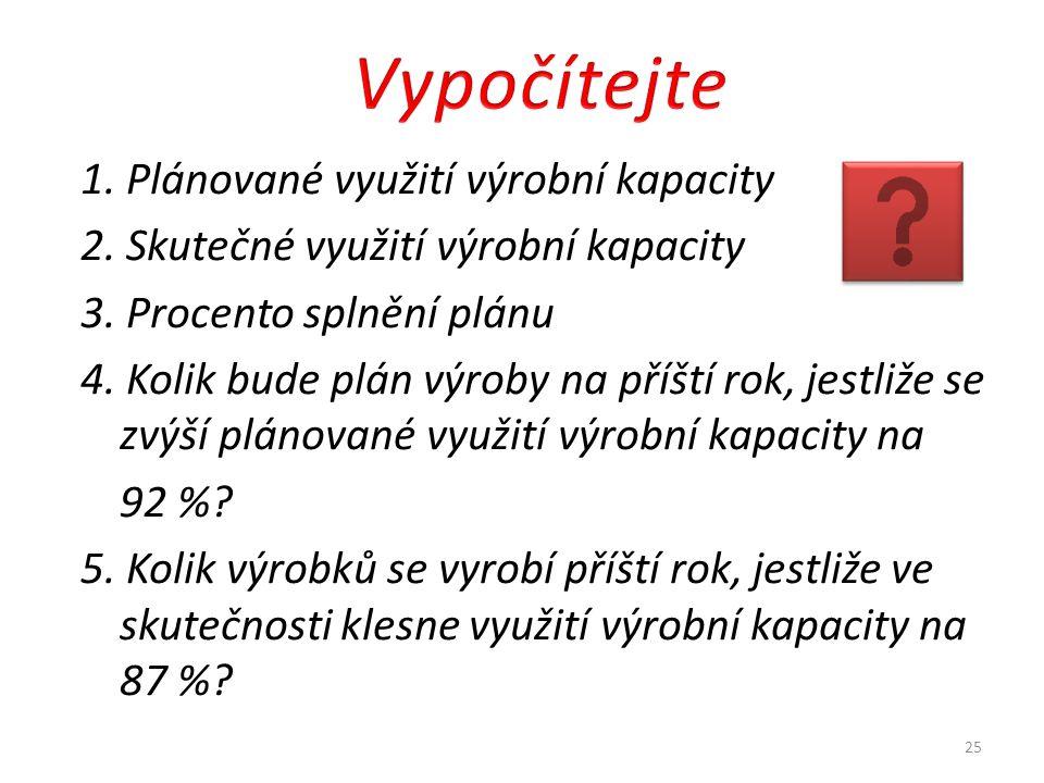 1.Plánované využití výrobní kapacity 2. Skutečné využití výrobní kapacity 3.