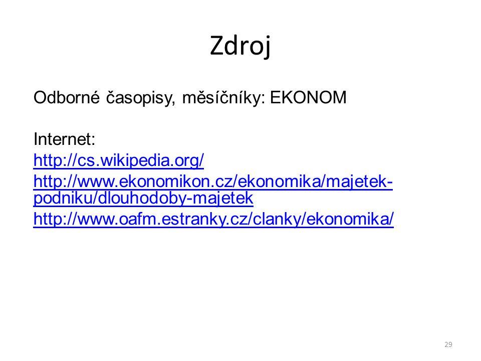 Zdroj Odborné časopisy, měsíčníky: EKONOM Internet: http://cs.wikipedia.org/ http://www.ekonomikon.cz/ekonomika/majetek- podniku/dlouhodoby-majetek http://www.oafm.estranky.cz/clanky/ekonomika/ 29