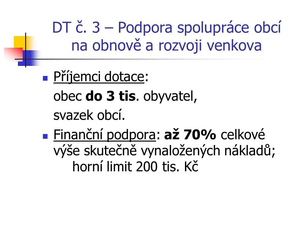 DT č. 3 – Podpora spolupráce obcí na obnově a rozvoji venkova Příjemci dotace: obec do 3 tis. obyvatel, svazek obcí. Finanční podpora: až 70% celkové