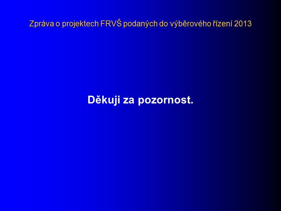 Zpráva o projektech FRVŠ podaných do výběrového řízení 2013 Děkuji za pozornost.
