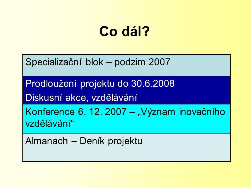 """Co dál? Specializační blok – podzim 2007 Prodloužení projektu do 30.6.2008 Diskusní akce, vzdělávání Konference 6. 12. 2007 – """"Význam inovačního vzděl"""