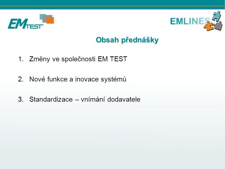 Obsah přednášky Obsah přednášky 1.Změny ve společnosti EM TEST 2.Nové funkce a inovace systémů 3.Standardizace – vnímání dodavatele