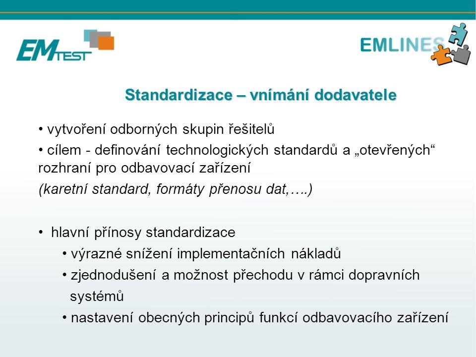 """Standardizace – vnímání dodavatele Standardizace – vnímání dodavatele vytvoření odborných skupin řešitelů cílem - definování technologických standardů a """"otevřených rozhraní pro odbavovací zařízení (karetní standard, formáty přenosu dat,….) hlavní přínosy standardizace výrazné snížení implementačních nákladů zjednodušení a možnost přechodu v rámci dopravních systémů nastavení obecných principů funkcí odbavovacího zařízení"""