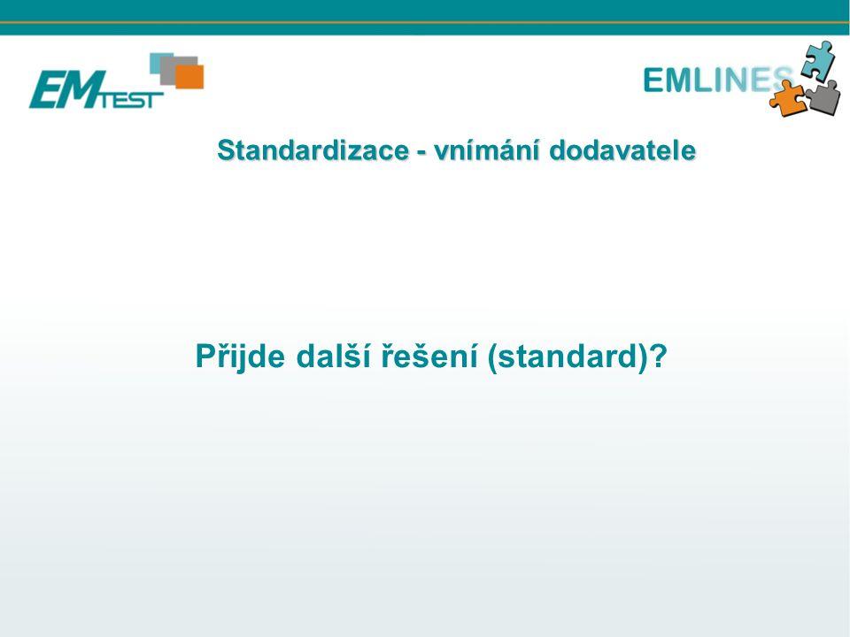 Standardizace - vnímání dodavatele Standardizace - vnímání dodavatele Přijde další řešení (standard)?