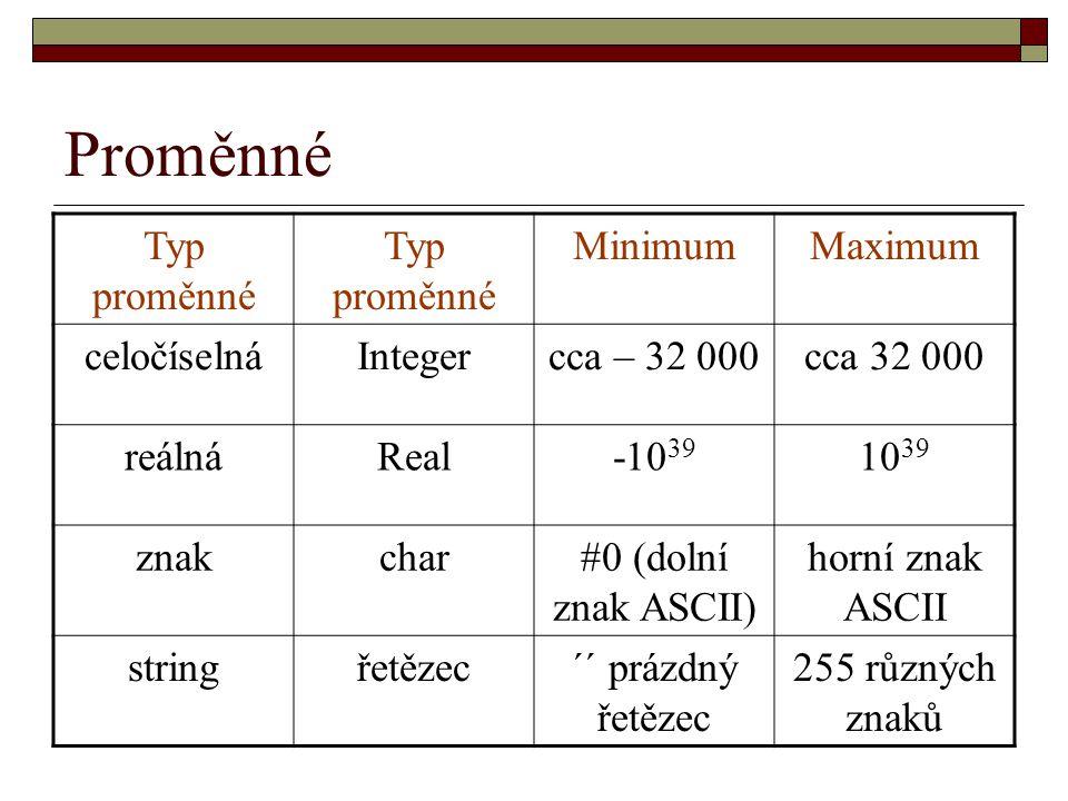 Proměnné Typ proměnné MinimumMaximum celočíselnáIntegercca – 32 000cca 32 000 reálnáReal-10 39 10 39 znakchar#0 (dolní znak ASCII) horní znak ASCII stringřetězec´´ prázdný řetězec 255 různých znaků