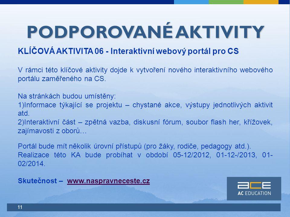 11 PODPOROVANÉ AKTIVITY KLÍČOVÁ AKTIVITA 06 - Interaktivní webový portál pro CS V rámci této klíčové aktivity dojde k vytvoření nového interaktivního