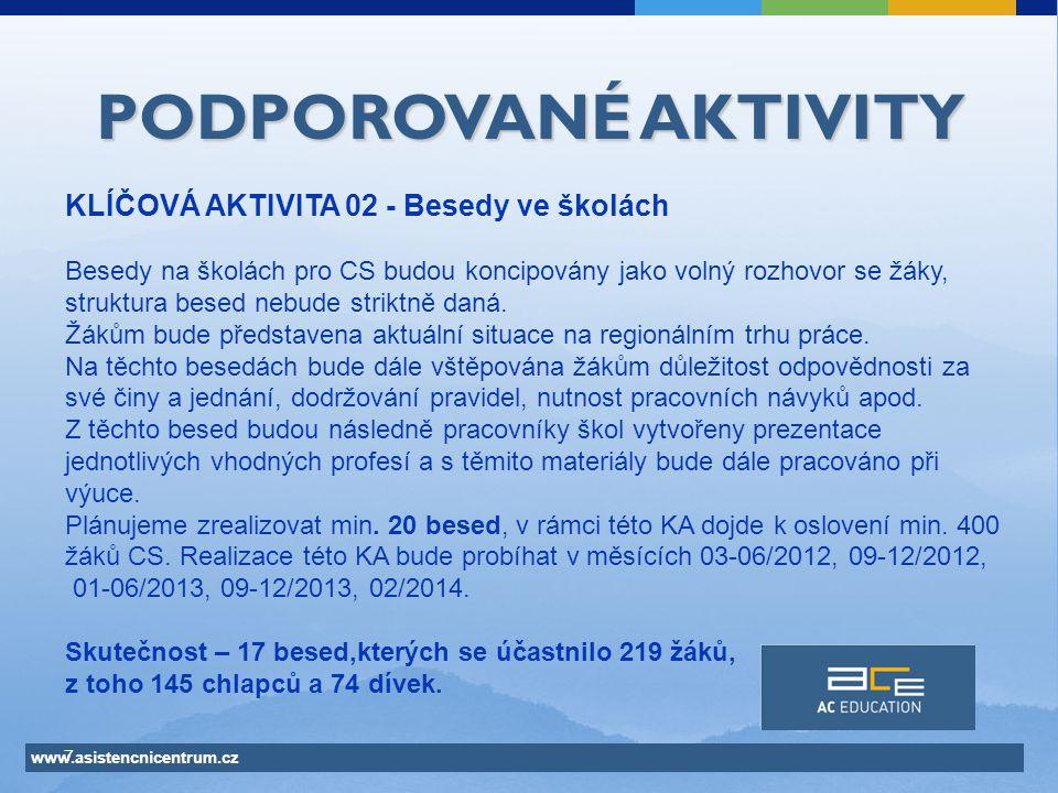 www.asistencnicentrum.cz 7 PODPOROVANÉ AKTIVITY KLÍČOVÁ AKTIVITA 02 - Besedy ve školách Besedy na školách pro CS budou koncipovány jako volný rozhovor se žáky, struktura besed nebude striktně daná.