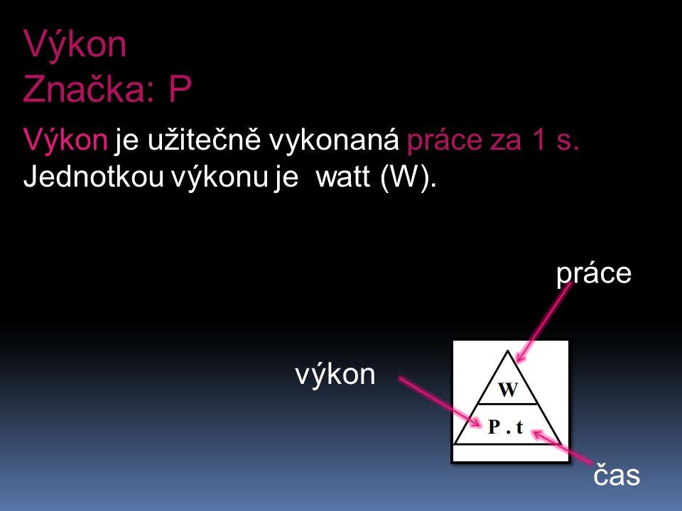 Výkon Značka: P Výkon je užitečně vykonaná práce za 1 s. Jednotkou výkonu je watt (W). výkon práce čas