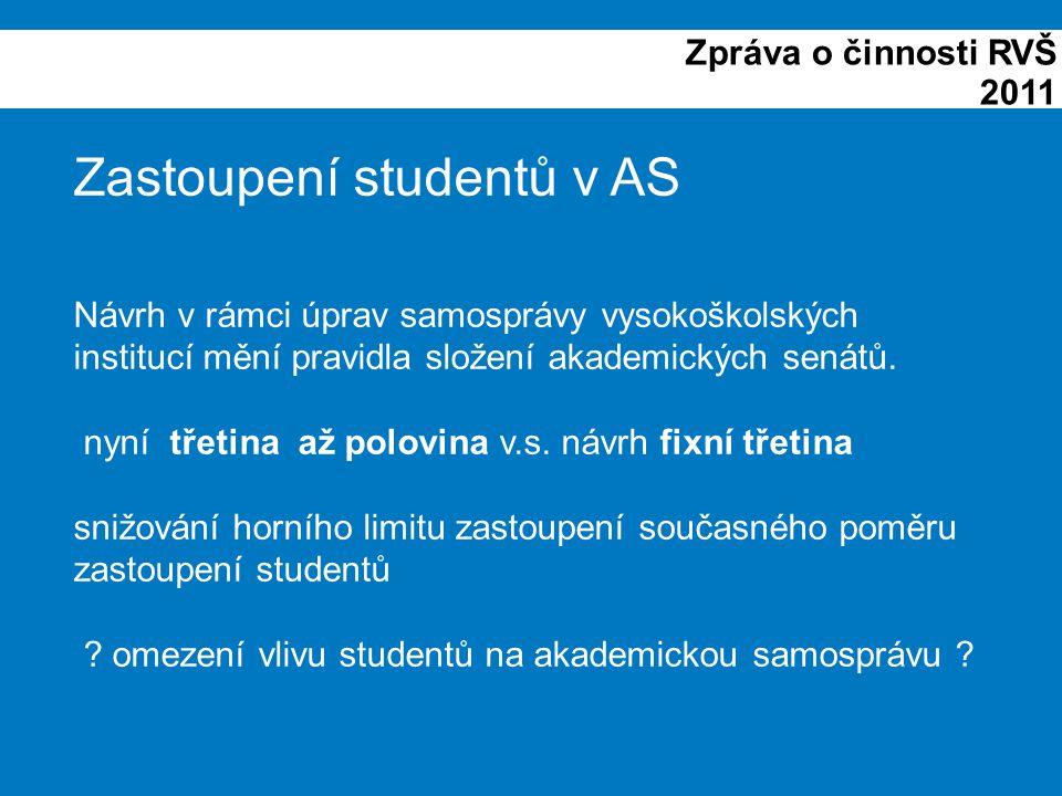 Zpráva o činnosti RVŠ 2011 Zastoupení studentů v AS Návrh v rámci úprav samosprávy vysokoškolských institucí mění pravidla složení akademických senátů.