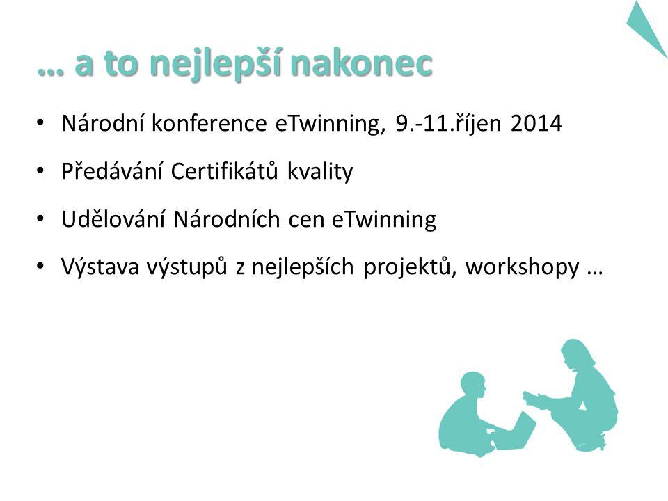 … a to nejlepší nakonec Národní konference eTwinning, 9.-11.říjen 2014 Předávání Certifikátů kvality Udělování Národních cen eTwinning Výstava výstupů z nejlepších projektů, workshopy …