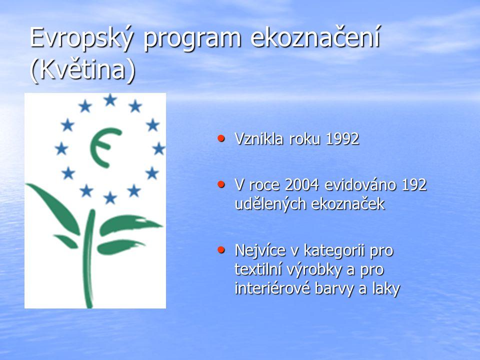 Evropský program ekoznačení (Květina) Vznikla roku 1992 Vznikla roku 1992 V roce 2004 evidováno 192 udělených ekoznaček V roce 2004 evidováno 192 uděl