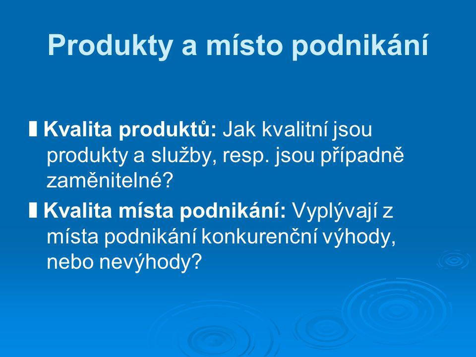 Produkty a místo podnikání ❚ Kvalita produktů: Jak kvalitní jsou produkty a služby, resp.