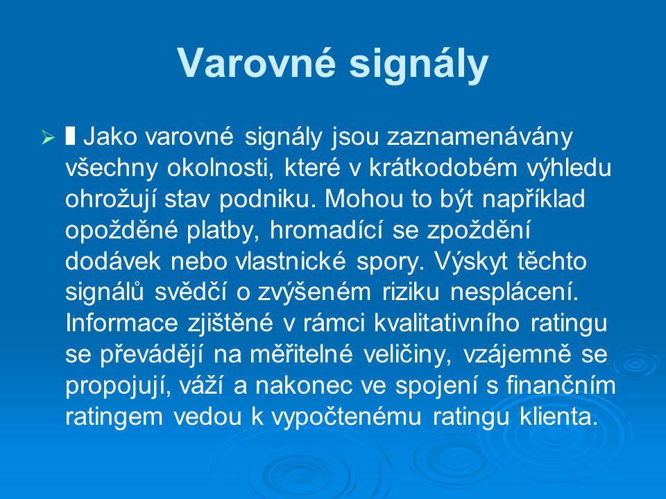 Varovné signály   ❚ Jako varovné signály jsou zaznamenávány všechny okolnosti, které v krátkodobém výhledu ohrožují stav podniku.